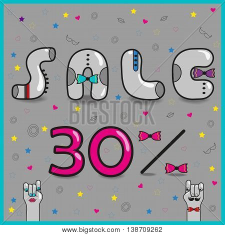 Inscription for retail. Sale Thirty percents. Gray artistic font. Vintage letters with colorful ties. Cartoon hands looking at each other. Vector illustration