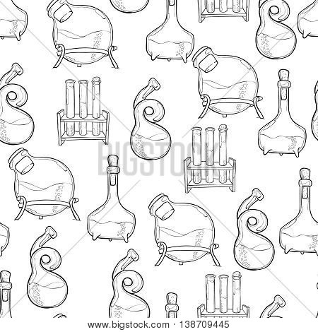 Hand drawn science vintage chemistry lab sketch seamless pattern. Back to School pattern. Doodle lab equipment. Biology, chemistry background