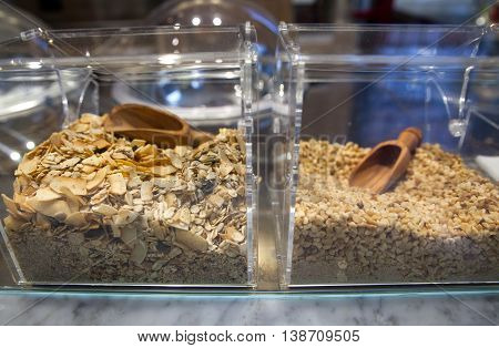 Close up of Nuts and grains for icecreams