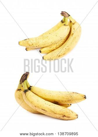 Bunch of old spotted bananas isolated over the white background, set of two different foreshortenings