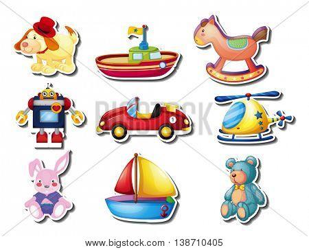 Sticker set of many cute toys illustration