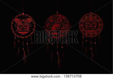 Set of Dream Catchers with indigenous pattern and ornament
