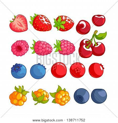 Set of different berries. Strawberry cherry raspberry blueberry cranberry cloudberry and bilberry isolated on a white background.