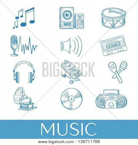 Hand drawn music icons set. Vector illustration, EPS 10