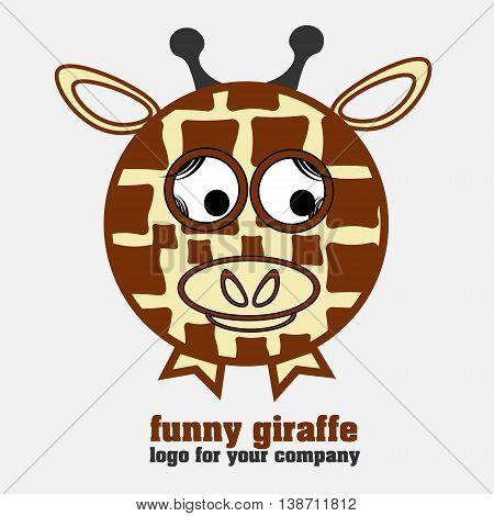 Funny giraffe logotype round as a balloon giraffe as a logo for business and design
