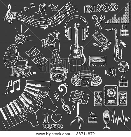 Hand drawn music set. Vector illustration, EPS 10