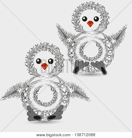 Vector illustration of a funny penguin chick Graphics drawing funny chick penguin on a light background for decoration and design