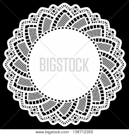 Lace round paper doily lacy snowflake greeting element package doily - a template for cutting lace pattern vector illustrations