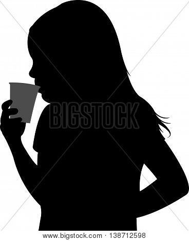 a child drinking water, black color silhouette vector