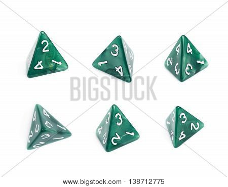 Green roleplaying polyhedral tetrahedron gaming plastic dice isolated over the white background, set of six different foreshortenings