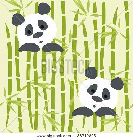 Seamless pattern panda bears on a bambo