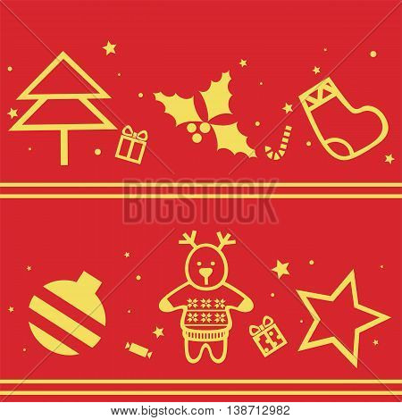 Simple seamless red background with Christmas symbols. Vector