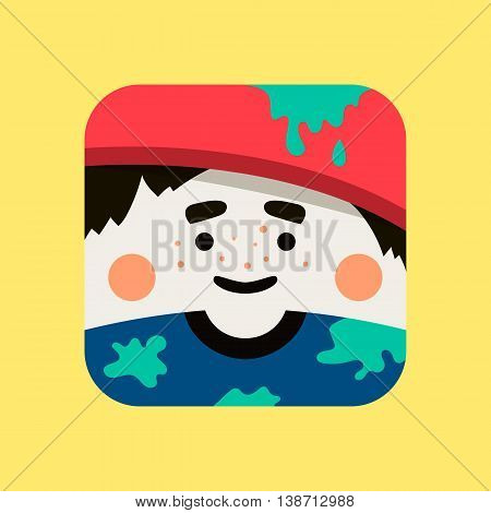 Artist avatar illustration. Trendy painter squared icon with shadows in flat style. Colorful and funny uncommon vector.