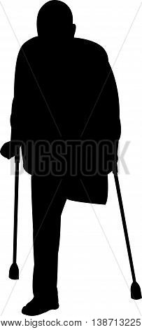 black color silhouette of a handicapped man