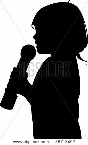 a girl speaking with microphone, silhouette vector