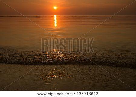Beach Koh-phangan during Sunset, evening landscape,