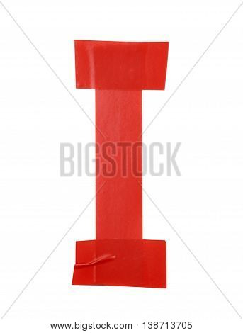 Letter I symbol made of insulating tape pieces, isolated over the white background