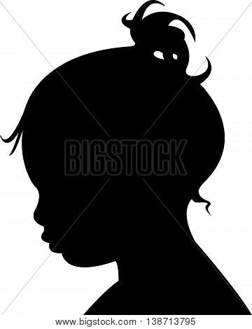 a kid head black color silhouette vector