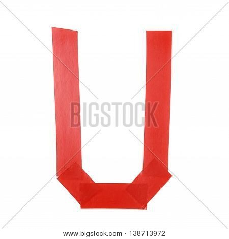Letter U symbol made of insulating tape pieces, isolated over the white background