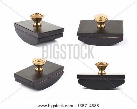 Blotting paper ink press isolated over the white background, set of four different foreshortenings