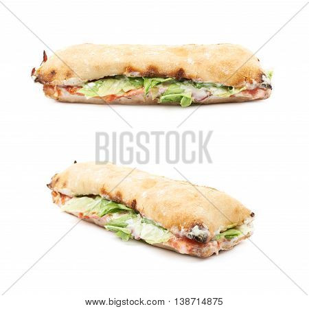 Sub sandwich isolated over the white background, set of two different foreshortenings