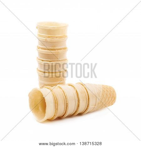 Composition of multiple wafer style empty waffle cones isolated over the white background