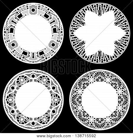 Set of design elements lace round paper doily doily to decorate the cake festive doily doily - a template for cutting greeting element package vector
