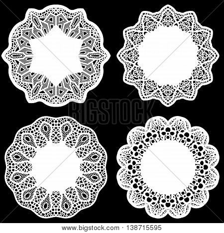 Set of design elements lace round paper doily doily to decorate the cake festive doily doily - a template for cuttinggreeting element package vector illustrations