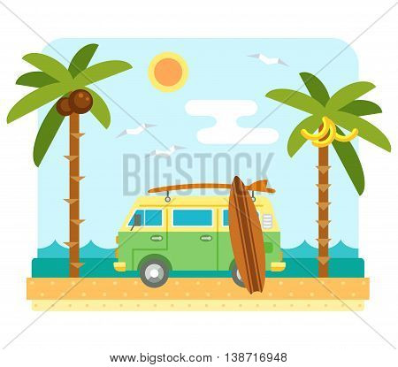 Surf van on beach. Flat beach scene with camper van, sea, send, surfboard and palm tree. Surfers car with board. Summer beach and ocean waves landscape. Surf van and boards on coast. Tropical paradise