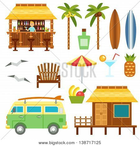 Beach scene elements with bar, surf van, umbrella, chair and bungalow hotel isolated on white. Flat summer palm tree surfboard, coctail, pineapple vector set. Summer beach travel set.