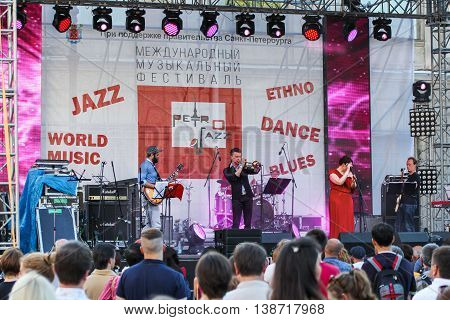 St. Petersburg, Russia - 2 July, Jazz band on stage, 2 July, 2016. Annual international festival of jazz and blues in St. Petersburg.