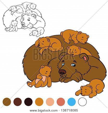 Coloring Page. Color Me: Bear. Daddy Bear With His Baby Bears.