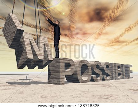Concept conceptual 3D illustration of business man standing over abstract stone impossible text on sunset sky background