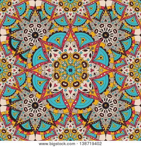 Vector seamless pattern. national decorative element for fabric ot design. Islam, Arabic, Indian, ottoman motifs. Oriental colorful mandala.