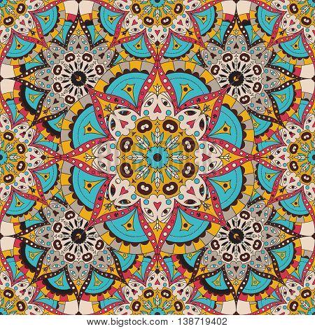 Vector seamless pattern. national decorative element for fabric ot design. Islam, Arabic, Indian, ottoman motifs. Oriental colorful mandala.