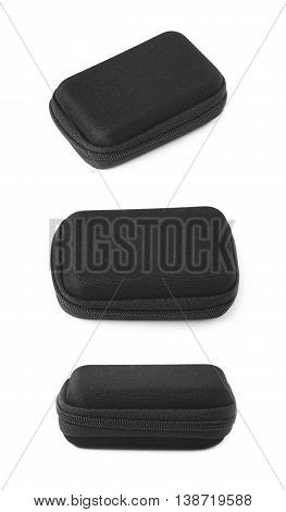 Black small rectangular protection case shell with a zipper, isolated over the white background, set of three different foreshortenings