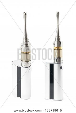 Generic vaping metal box device isolated over the white background, set of two different foreshortenings