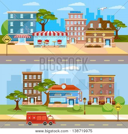 Cityscape banner town life urban city landscape street panoramic vector illustration