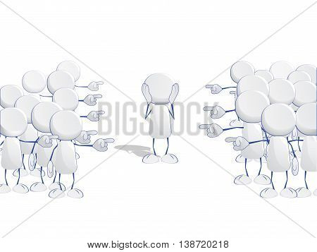 Abstract human icons pointing together at one leader, vector illustration