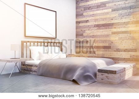 Modern Bedroom With Poster On Wall