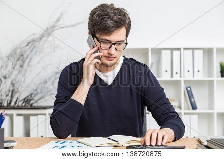 Handsome Accountant On Phone