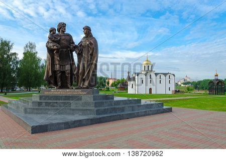 VITEBSK BELARUS - JULY 13 2016: Monument to Prince Alexander Nevsky and his wife Princess Alexandra of Vitebsk and son of Basil Vitebsk Belarus