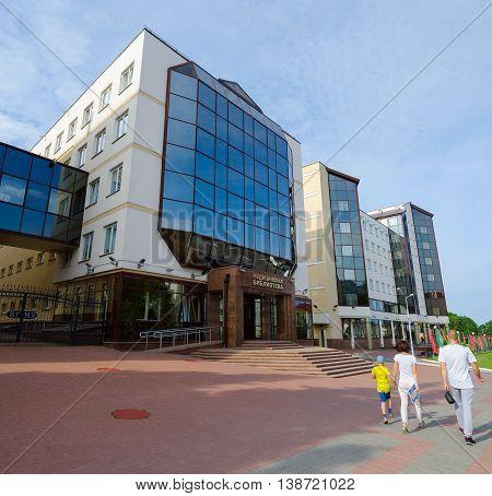 VITEBSK BELARUS - JULY 13 2016: Unidentified people walk near medical library and morphological housing of Vitebsk State Order of Peoples' Friendship Medical University Belarus