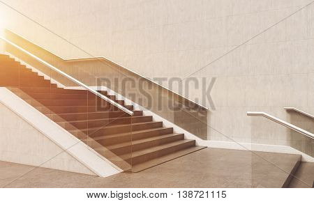 Stylish Sunlit Starecase In Modern Building