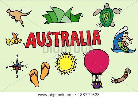 Australia tourism nature and culture icons set. Vector illustration, EPS 10