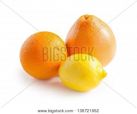 Orange. Lemon. Grapefruit. Ripe orange grapefruit and lemon isolated on white background