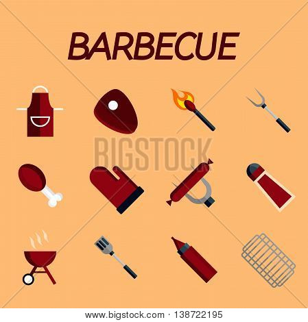 Vector set of barbecue and grilled food- steak, sausage, chicken and vegetables. Flat design