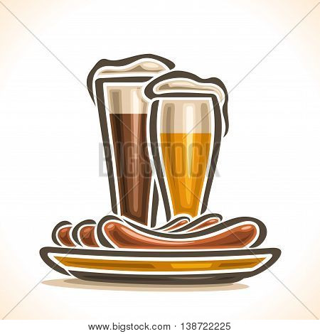 Vector logo for Beer and Sausages, consisting of glass cups, filled to the brim light lager beer, dark porter ale with foam on white background, yellow dish plate with 3 hot beef sausage frankfurters