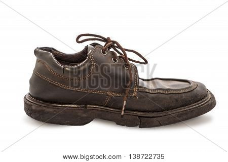 Old Shoes - Still Life A Pair Of Brown Leather Shoes Old And Dirty With Isolated On White Background