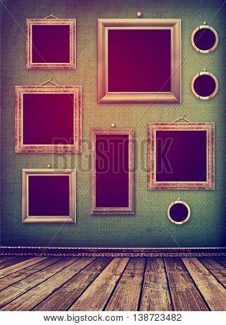 Old Room, Grunge Industrial Interior, Worn  Surface, Wooden Fram